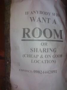 Room Sharing Ad on road side, SBI CG Road