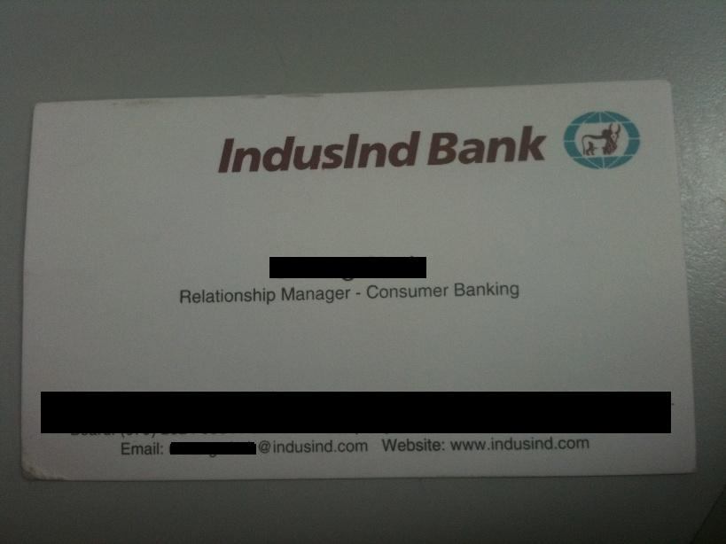 IndusInd Bank Visiting Card